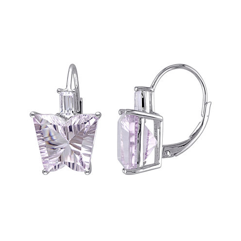 Genuine Pink Amethyst and White Topaz Butterfly-Shaped Earrings