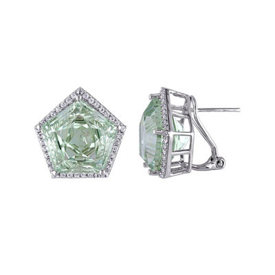 Genuine Green Amethyst and White Topaz Sterling Silver Earrings
