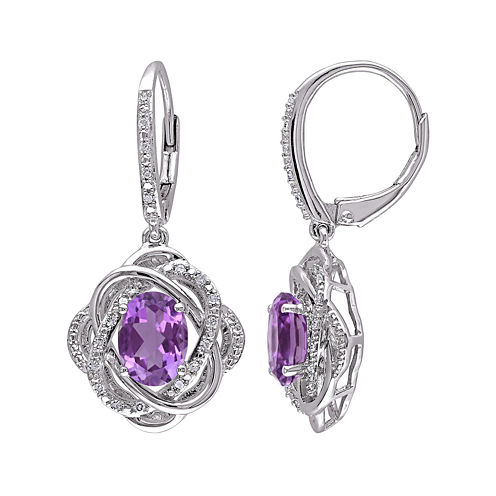 Genuine Amethyst and 1/6 CT. T.W. Diamond Drop Earrings