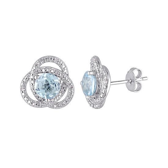 Genuine Sky Blue Topaz and 1/10 CT. T.W. Diamond Earrings