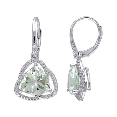 Genuine Green Amethyst and Diamond–Accent Drop Earrings