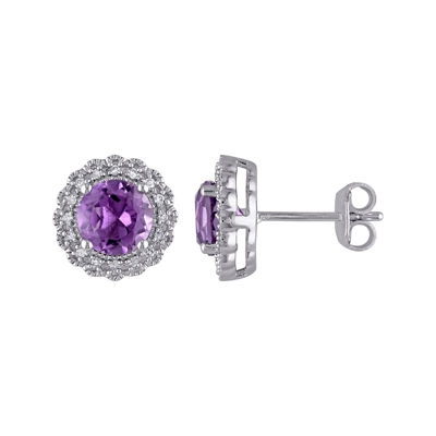 Genuine Amethyst and 1/10 CT. T.W. Diamond Stud Earrings