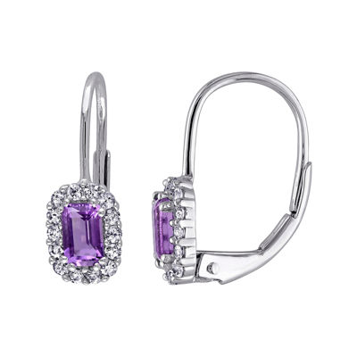 Genuine Amethyst and White Sapphire Halo Leverback Drop Earrings