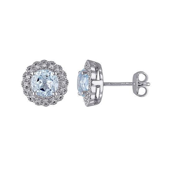 Genuine Sky Blue Topaz and 1/10 CT. T.W. Diamond Stud Earrings