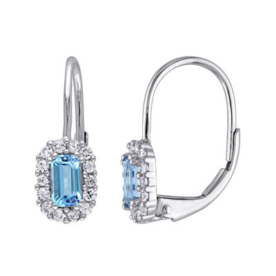 Genuine Blue Topaz and White Sapphire Halo Leverback Drop Earrings
