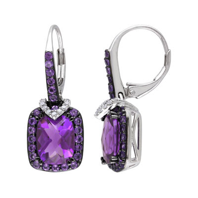 Genuine Amethyst and 1/10 CT. T.W. Diamond Drop Earrings