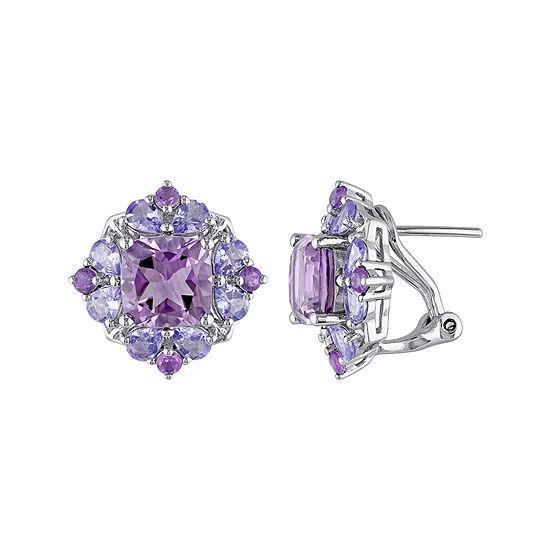 Genuine Amethyst And Tanzanite Sterling Silver Earrings