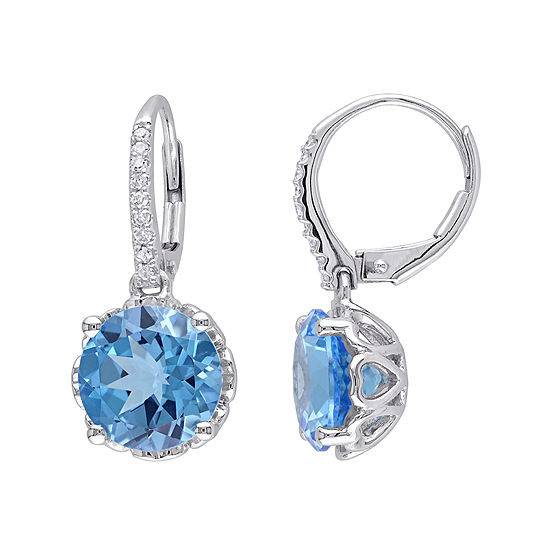Genuine Blue Topaz and 1/10 CT. T.W. Diamond 10K White Gold Earrings