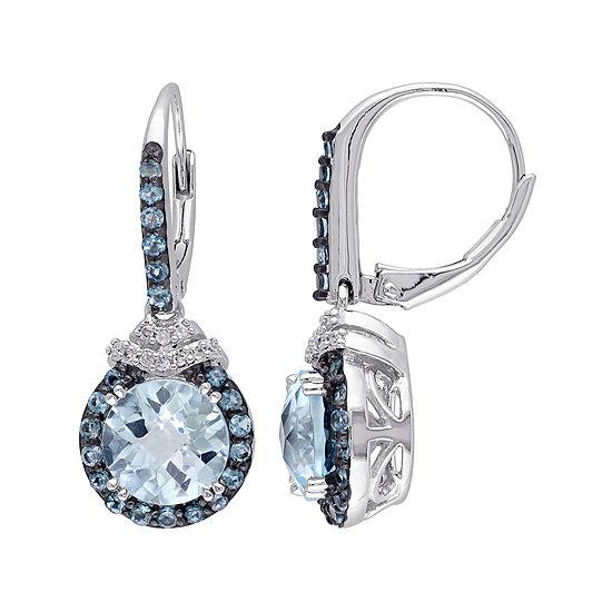 Genuine Blue Topaz and 1/10 CT. T.W. Diamond Drop Earrings