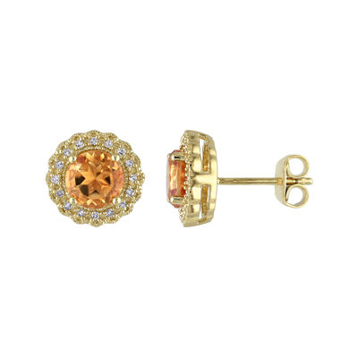 Genuine Citrine and 1/10 CT. T.W. Diamond Stud Earrings