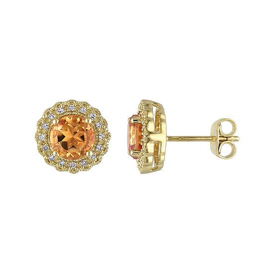 Genuine Citrine And 1 10 Ct Tw Diamond Stud Earrings