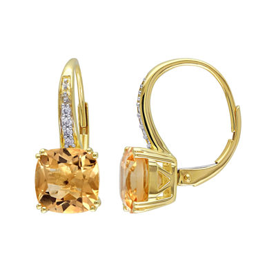 Genuine Citrine and Diamond-Accent Leverback Drop Earrings