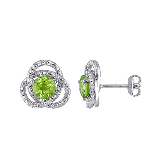 Genuine Peridot And 1 10 Ct Tw Diamond Earrings