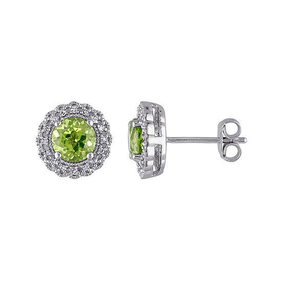 Genuine Peridot and 1/10 CT. T.W. Diamond Stud Earrings