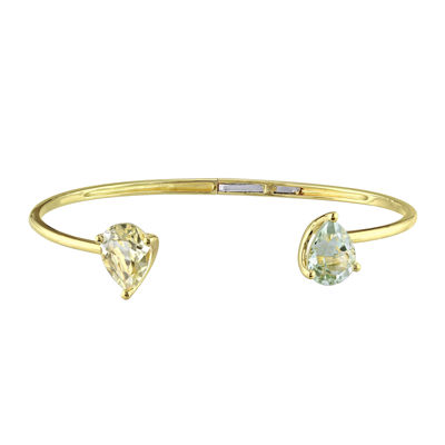 Gemstone Yellow Gold Over Silver Bangle Bracelet