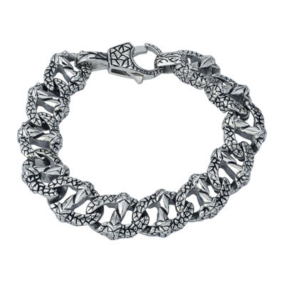 Mens Textured Stainless Steel Chain Bracelet