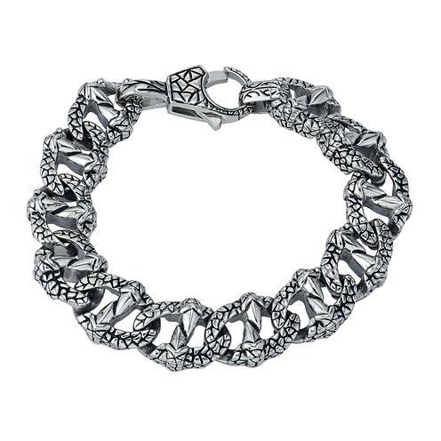Mens Textured Stainless Steel Chain Bracelet