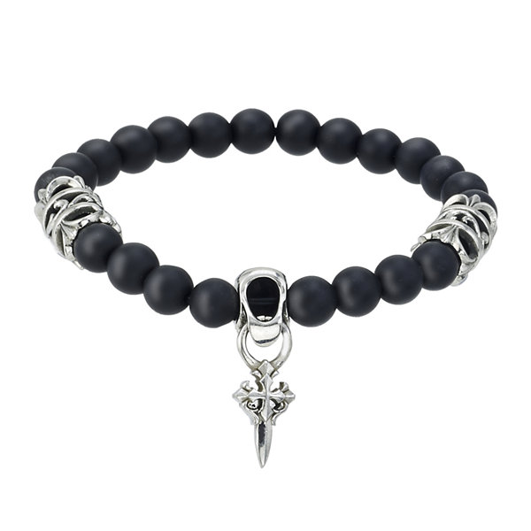 Mens Black Bead and Stainless Steel Cross Bracelet