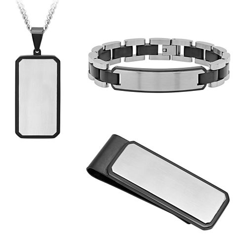 Mens 3-pc. Black Ion-Plated Stainless Steel Dog Tag Boxed Gift Set
