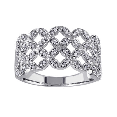 1/4 CT. T.W. Diamond 10K White Gold Woven Ring