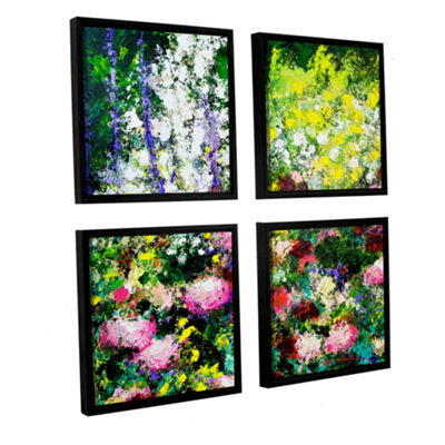 Brushstone Summertime 4-pc. Square Floater FramedCanvas Wall Art