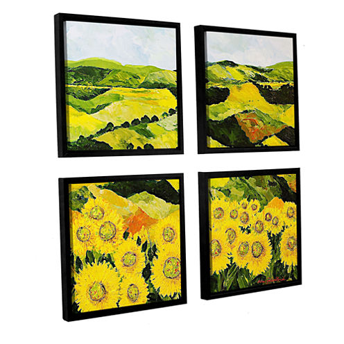 Brushstone Sunflowers and Sunshine 4-pc. Square Floater Framed Canvas Wall Art