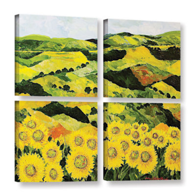 Brushstone Sunflowers and Sunshine 4-pc. Square Gallery Wrapped Canvas Wall Art
