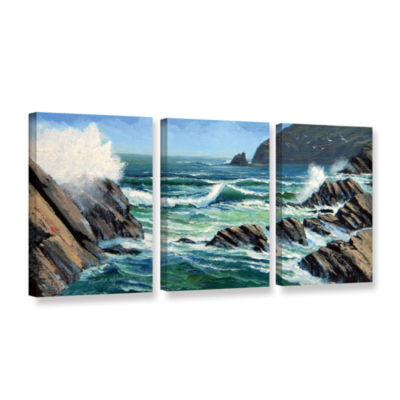 Brushstone Summer Surf 3-pc. Gallery Wrapped Canvas Wall Art