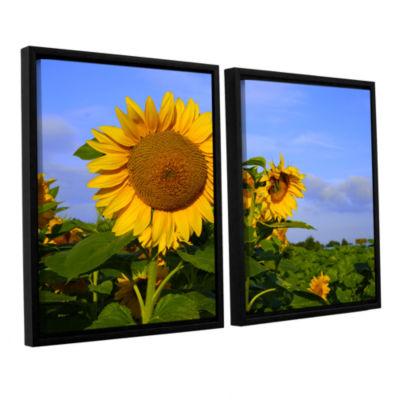 Brushstone Sunflower (garden) 2-pc. Floater FramedCanvas Wall Art