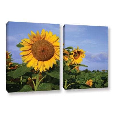 Brushstone Sunflower (garden) 2-pc. Gallery Wrapped Canvas Wall Art