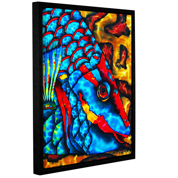 Brushstone Stoplight Parrotfish Gallery Wrapped Floater-Framed Canvas Wall Art