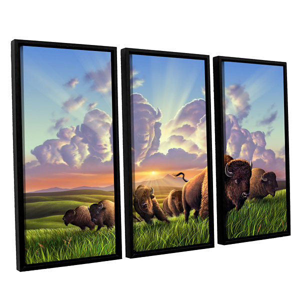 Brushstone Stamped 3-pc. Floater Framed Canvas Wall Art