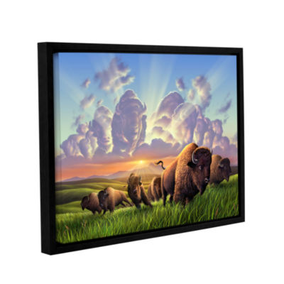 Brushstone Stamped Gallery Wrapped Floater-FramedCanvas Wall Art