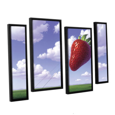 Brushstone Strawberry Field 4-pc. Floater Framed Staggered Canvas Wall Art