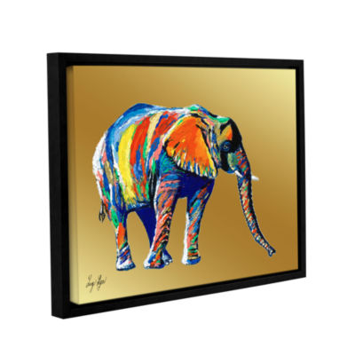 Brushstone Sunflower (elephant) Gallery Wrapped Floater-Framed Canvas Wall Art