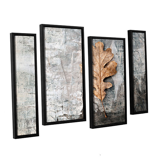 Brushstone Still Life Leaf 4 Pc Floater Framed Staggered Canvas Wall Art