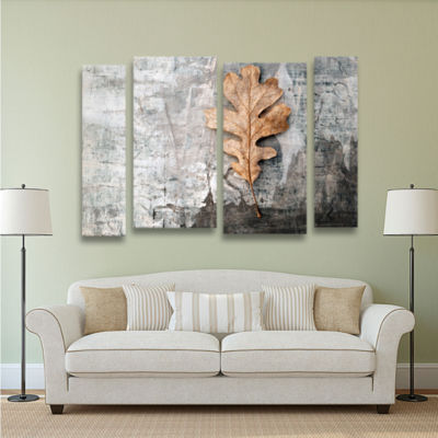 Brushstone Still Life Leaf 4-pc. Gallery Wrapped Staggered Canvas Wall Art