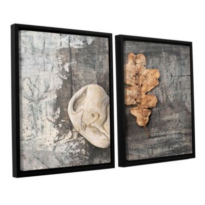 Brushstone Still Life Leaf Stone 2-pc. Floater Framed Canvas Wall Art