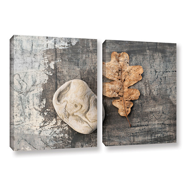Brushstone Still Life Leaf Stone 2-pc. Gallery Wrapped Canvas Wall Art