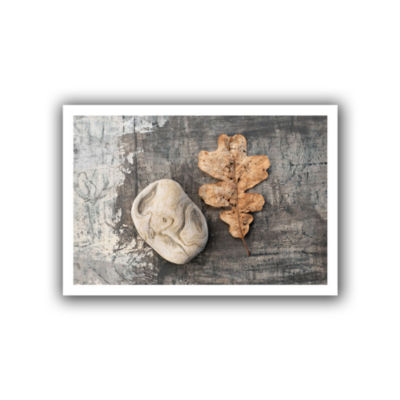 Brushstone Still Life Leaf Stone Canvas Wall Art