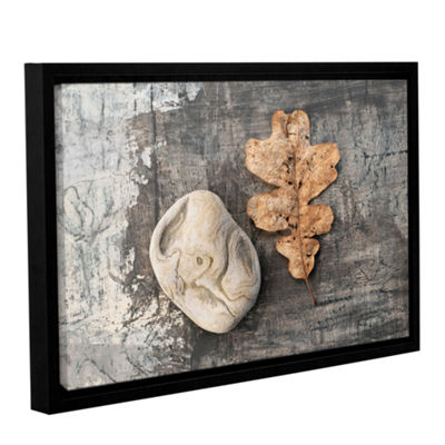Brushstone Still Life Leaf Stone Gallery Wrapped Floater-Framed Canvas Wall Art