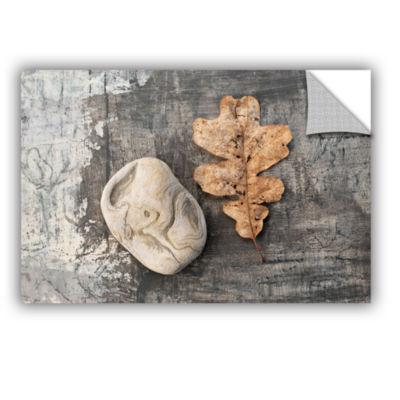 Brushstone Still Life Leaf Stone Removable Wall Decal