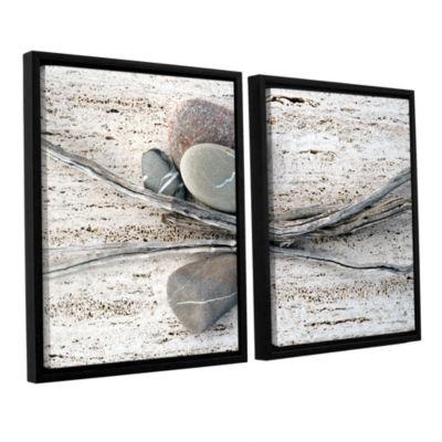 Brushstone Still Life Sticks Stones 2-pc. FloaterFramed Canvas Wall Art