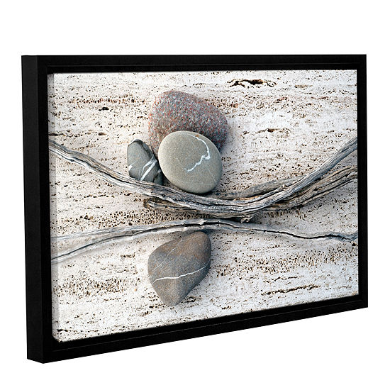 Brushstone Still Life Sticks Stones Gallery Wrapped Floater-Framed Canvas Wall Art