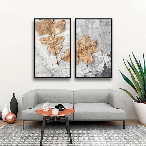 Brushstone Still Life Two Leaves 2-pc. Floater Framed Canvas Wall Art