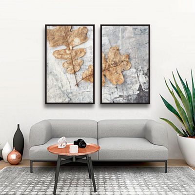 Brushstone Still Life Two Leaves 2-pc. Floater Framed Canvas Wall Art