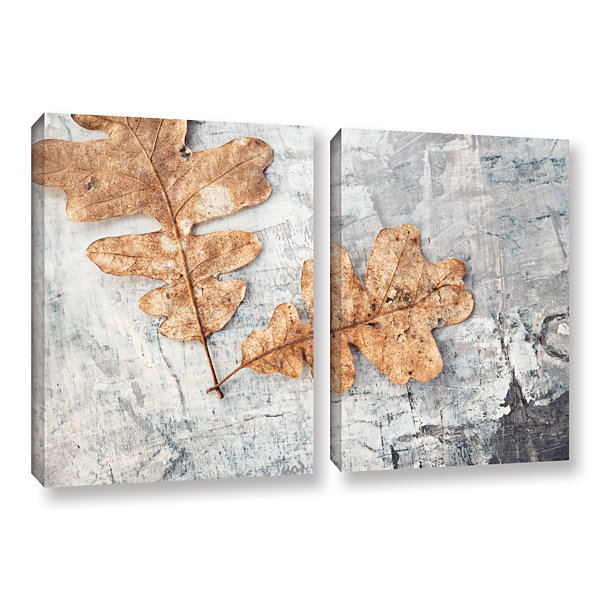 Brushstone Still Life Two Leaves 2-pc. Gallery Wrapped Canvas Wall Art