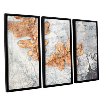 Brushstone Still Life Two Leaves 3-pc. Floater Framed Canvas Wall Art