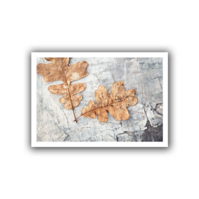 Brushstone Still Life Two Leaves Canvas Wall Art