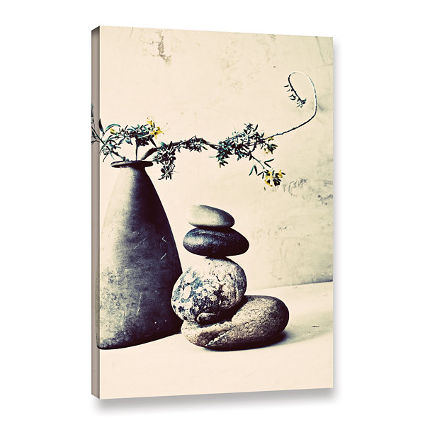 Brushstone Stones And Vase Gallery Wrapped CanvasWall Art